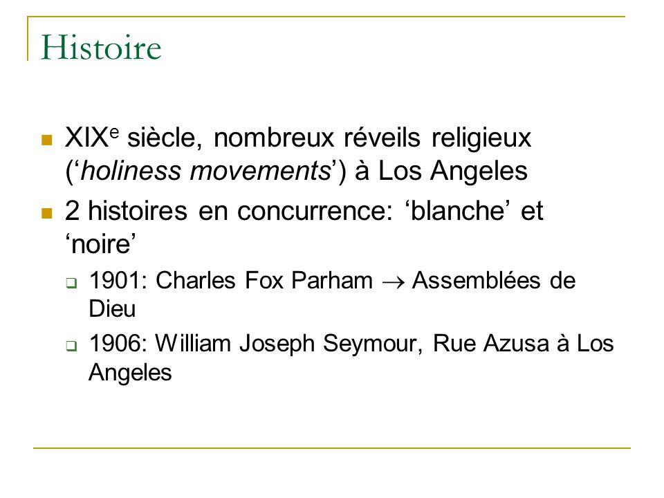 Histoire XIX e siècle, nombreux réveils religieux (holiness movements) à Los Angeles 2 histoires en concurrence: blanche et noire 1901: Charles Fox Pa