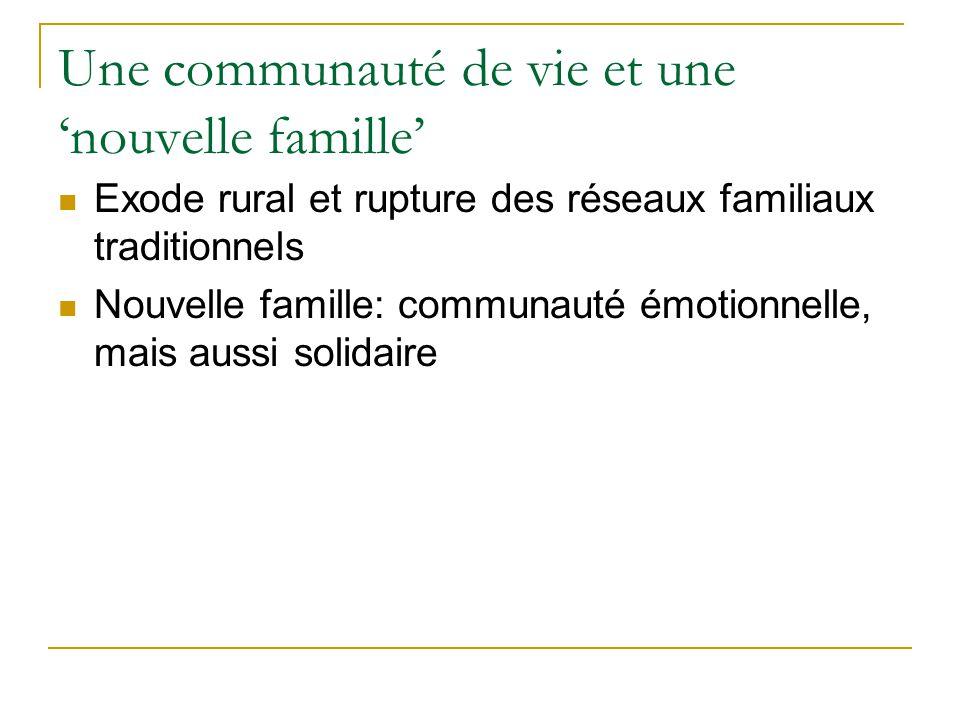 Une communauté de vie et une nouvelle famille Exode rural et rupture des réseaux familiaux traditionnels Nouvelle famille: communauté émotionnelle, ma