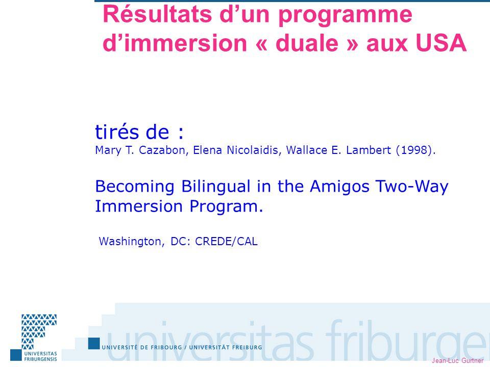 Jean-Luc Gurtner Résultats dun programme dimmersion « duale » aux USA tirés de : Mary T.
