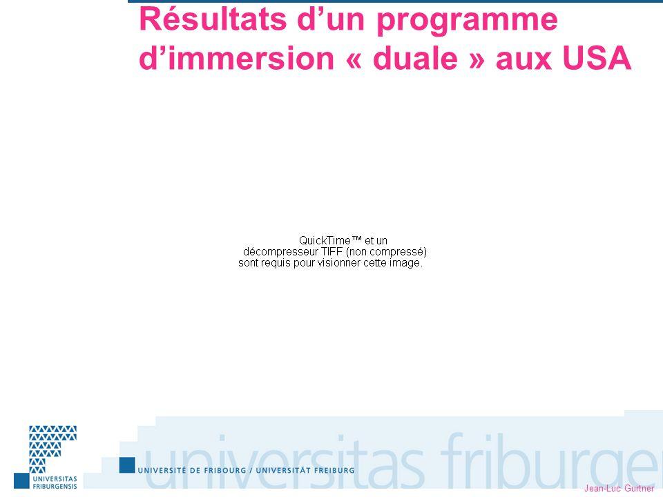 Jean-Luc Gurtner Résultats dun programme dimmersion « duale » aux USA