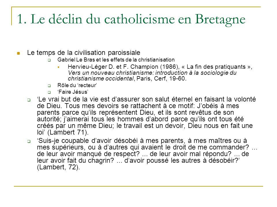 1. Le déclin du catholicisme en Bretagne Le temps de la civilisation paroissiale Gabriel Le Bras et les effets de la christianisation Hervieu-Léger D.