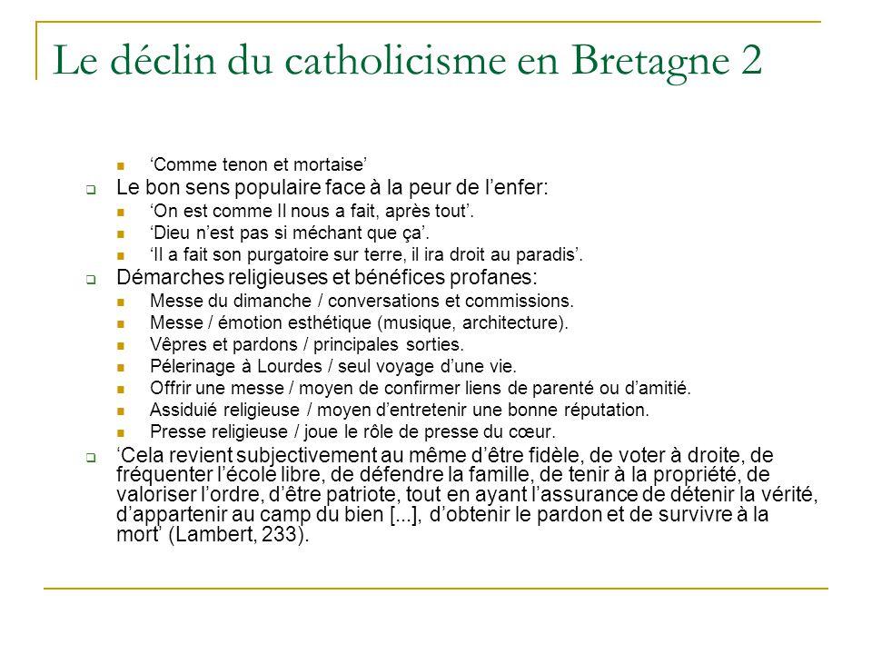 Le déclin du catholicisme en Bretagne 2 Comme tenon et mortaise Le bon sens populaire face à la peur de lenfer: On est comme Il nous a fait, après tout.