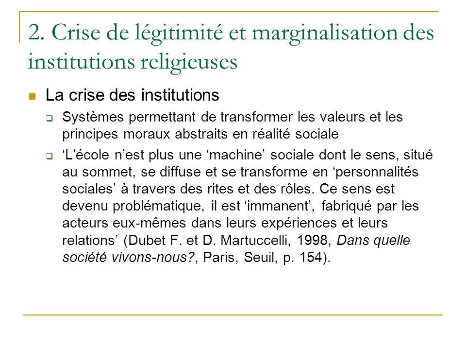 2. Crise de légitimité et marginalisation des institutions religieuses La crise des institutions Systèmes permettant de transformer les valeurs et les