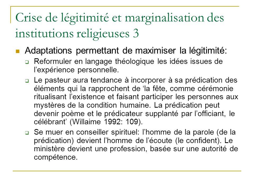 Crise de légitimité et marginalisation des institutions religieuses 3 Adaptations permettant de maximiser la légitimité: Reformuler en langage théologique les idées issues de lexpérience personnelle.