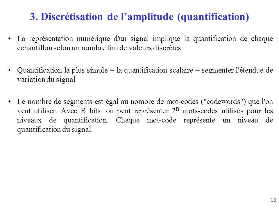 10 3. Discrétisation de lamplitude (quantification) La représentation numérique d'un signal implique la quantification de chaque échantillon selon un
