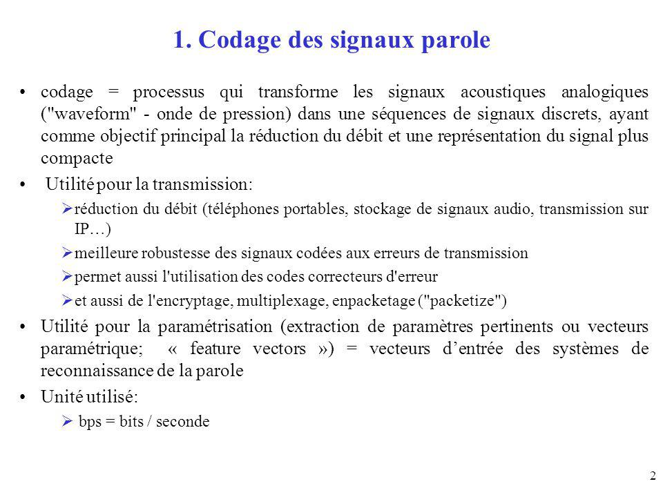 2 1. Codage des signaux parole codage = processus qui transforme les signaux acoustiques analogiques (