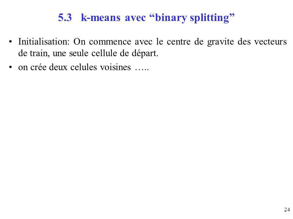 24 5.3 k-means avec binary splitting Initialisation: On commence avec le centre de gravite des vecteurs de train, une seule cellule de départ. on crée