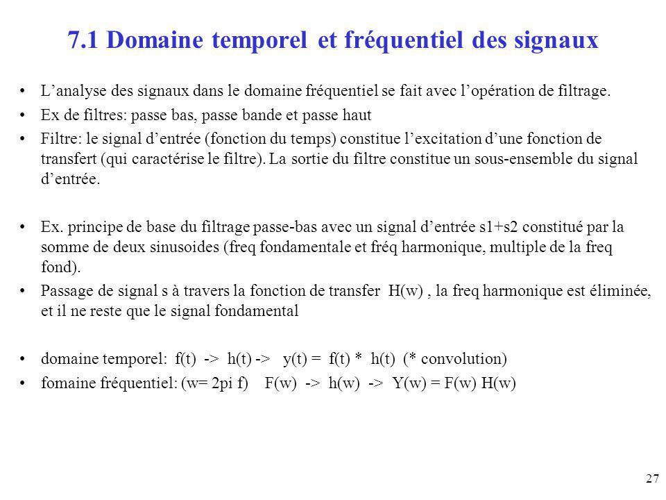 27 7.1 Domaine temporel et fréquentiel des signaux Lanalyse des signaux dans le domaine fréquentiel se fait avec lopération de filtrage. Ex de filtres