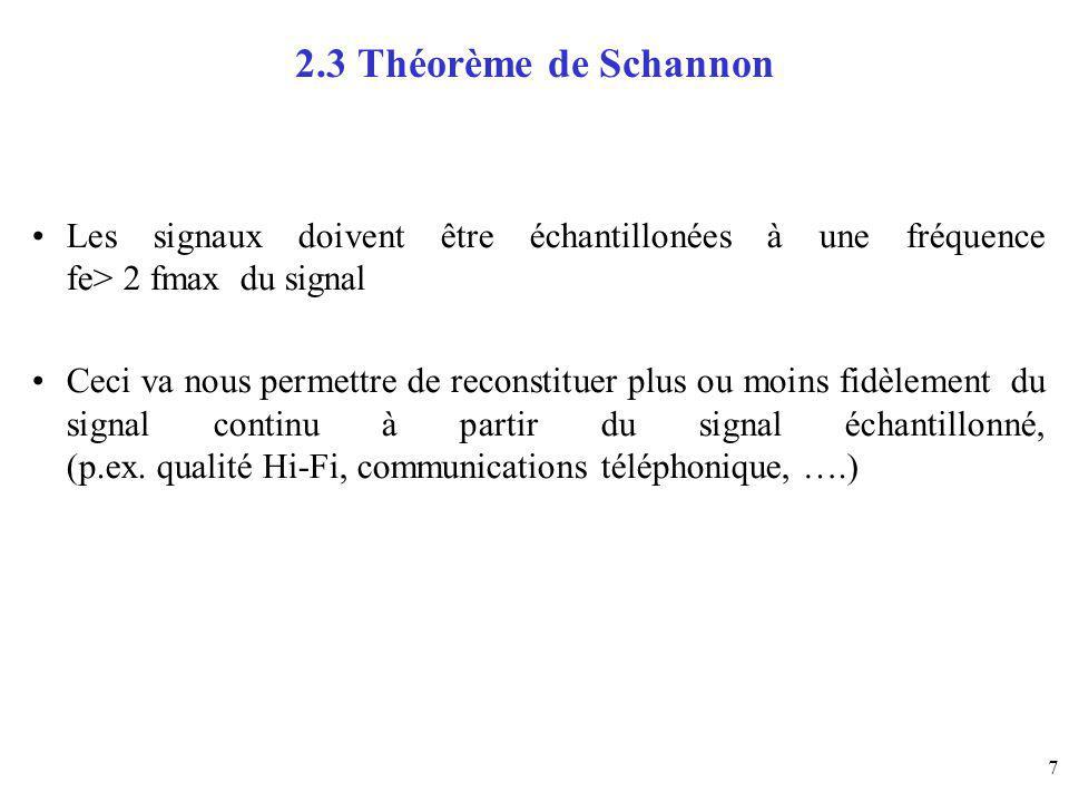 7 2.3 Théorème de Schannon Les signaux doivent être échantillonées à une fréquence fe> 2 fmax du signal Ceci va nous permettre de reconstituer plus ou