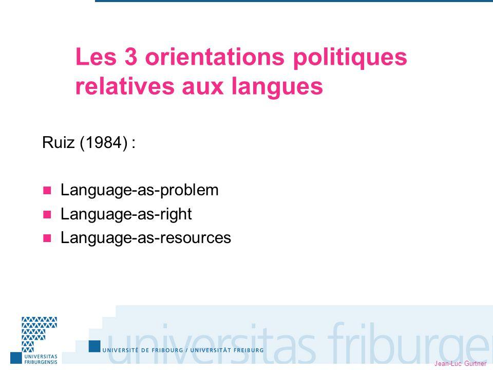 Jean-Luc Gurtner Les 3 orientations politiques relatives aux langues Ruiz (1984) : Language-as-problem Language-as-right Language-as-resources