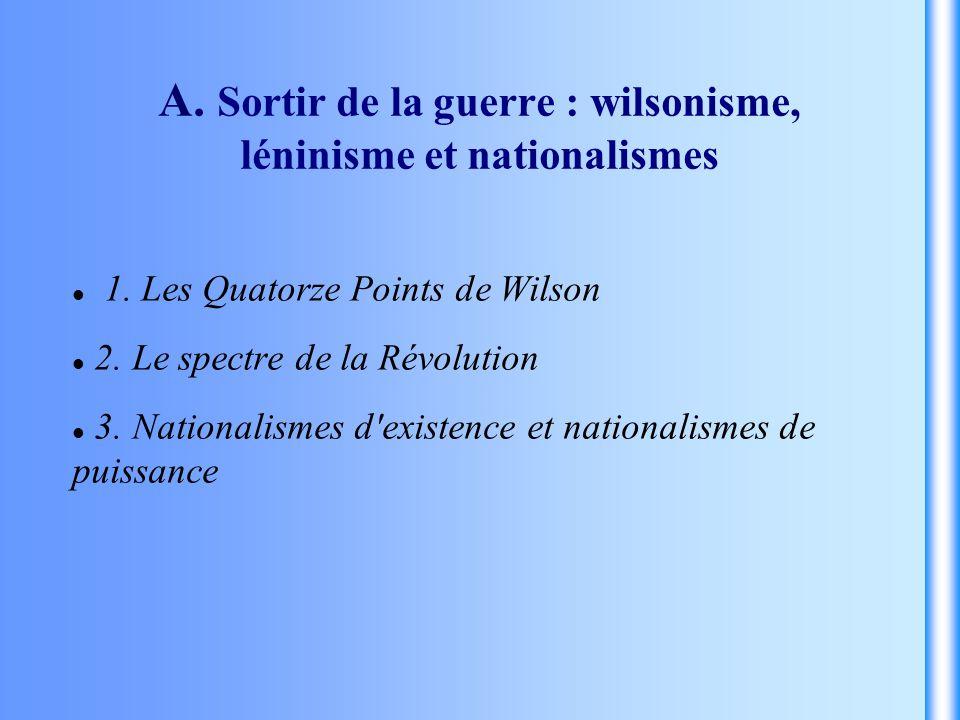 A. Sortir de la guerre : wilsonisme, léninisme et nationalismes 1. Les Quatorze Points de Wilson 2. Le spectre de la Révolution 3. Nationalismes d'exi