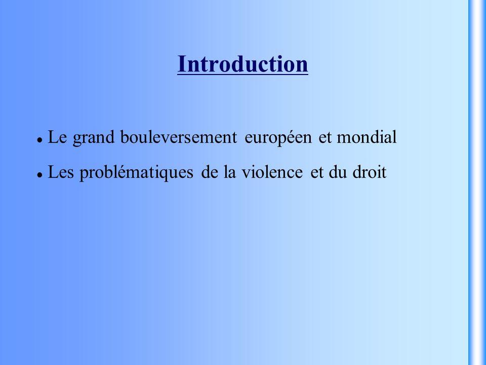 Introduction Le grand bouleversement européen et mondial Les problématiques de la violence et du droit