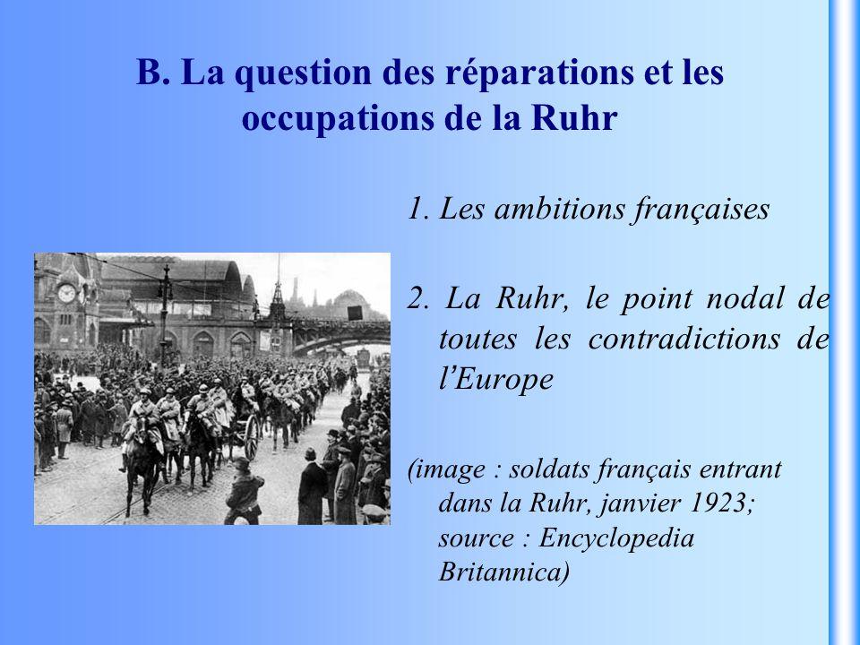 B. La question des réparations et les occupations de la Ruhr 1. Les ambitions françaises 2. La Ruhr, le point nodal de toutes les contradictions de l