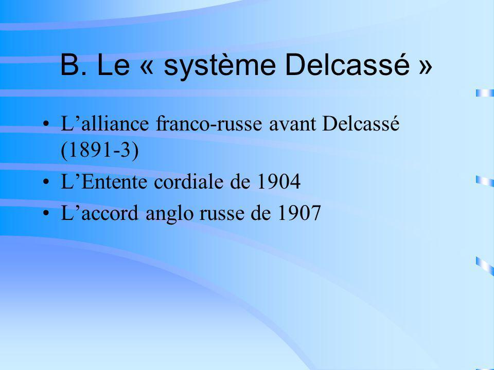 B. Le « système Delcassé » Lalliance franco-russe avant Delcassé (1891-3) LEntente cordiale de 1904 Laccord anglo russe de 1907