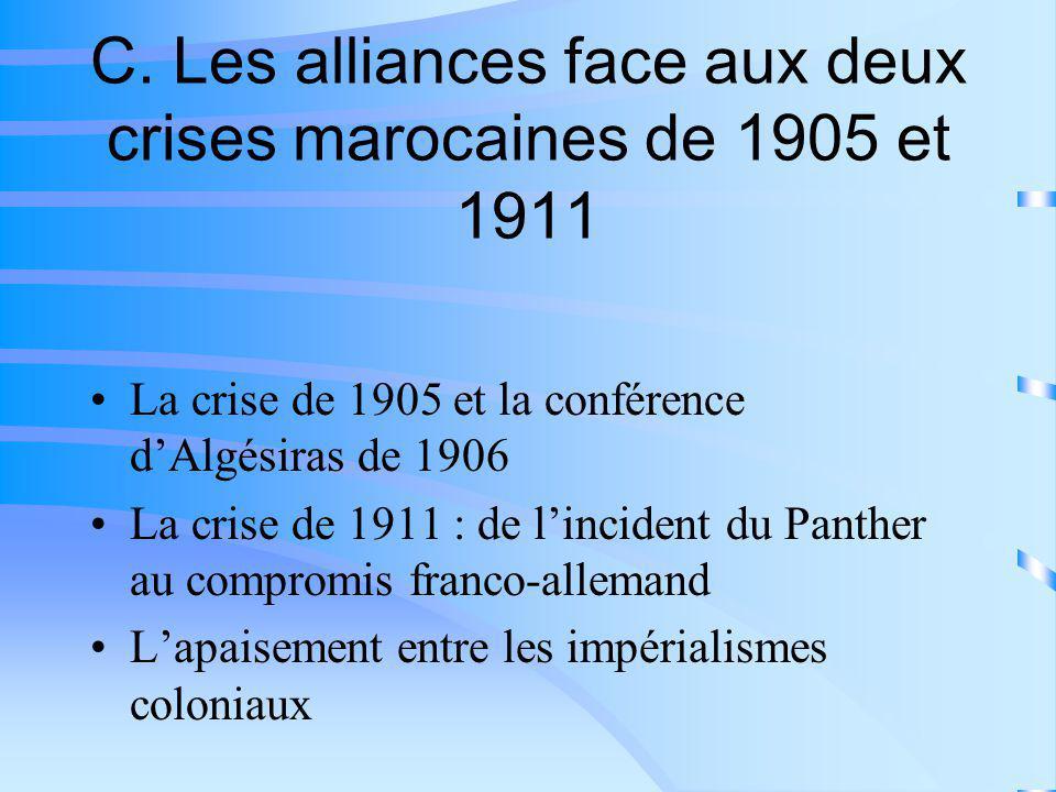 C. Les alliances face aux deux crises marocaines de 1905 et 1911 La crise de 1905 et la conférence dAlgésiras de 1906 La crise de 1911 : de lincident
