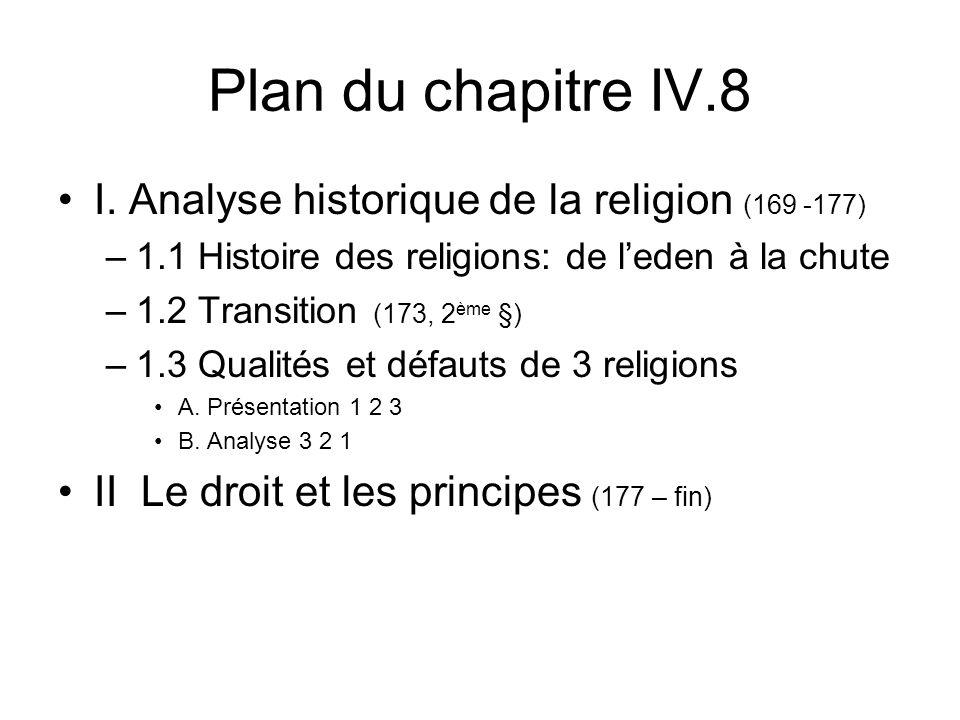Plan du chapitre IV.8 I. Analyse historique de la religion (169 -177) –1.1 Histoire des religions: de leden à la chute –1.2 Transition (173, 2 ème §)