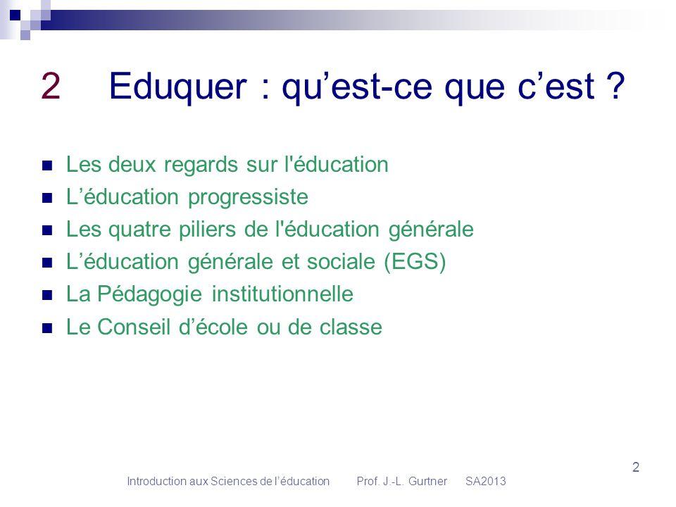2 2Eduquer : quest-ce que cest ? Les deux regards sur l'éducation Léducation progressiste Les quatre piliers de l'éducation générale Léducation généra