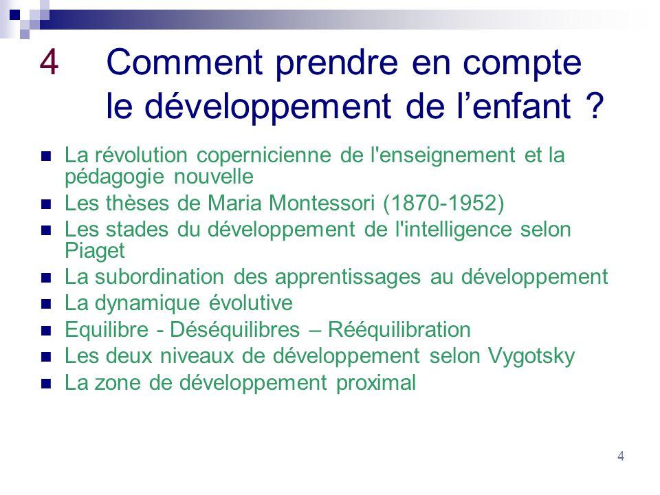 4 4Comment prendre en compte le développement de lenfant ? La révolution copernicienne de l'enseignement et la pédagogie nouvelle Les thèses de Maria