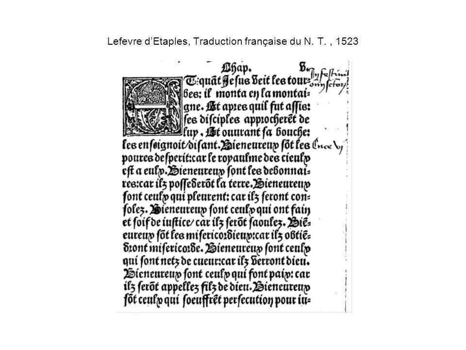 Lefevre dEtaples, Traduction française du N. T., 1523