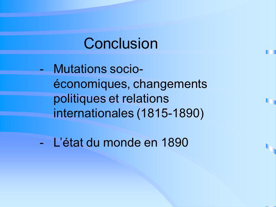 Conclusion -Mutations socio- économiques, changements politiques et relations internationales (1815-1890) -Létat du monde en 1890