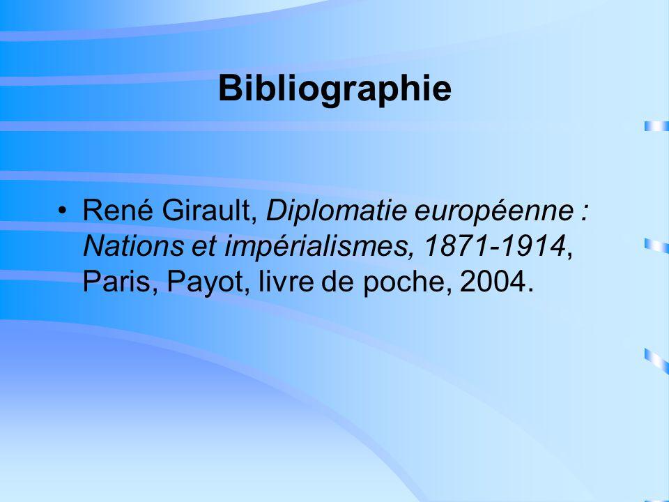Bibliographie René Girault, Diplomatie européenne : Nations et impérialismes, 1871-1914, Paris, Payot, livre de poche, 2004.