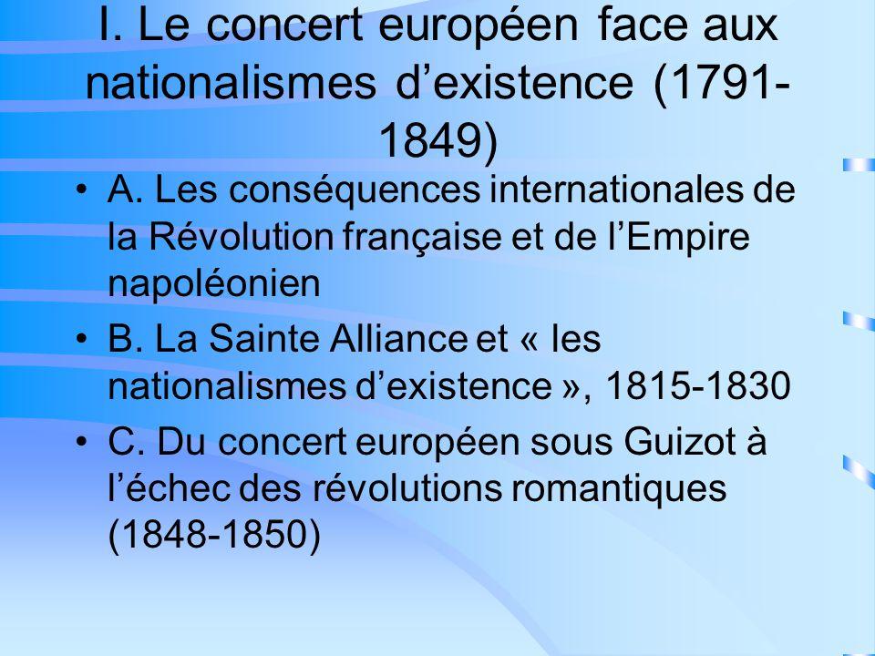 I. Le concert européen face aux nationalismes dexistence (1791- 1849) A. Les conséquences internationales de la Révolution française et de lEmpire nap