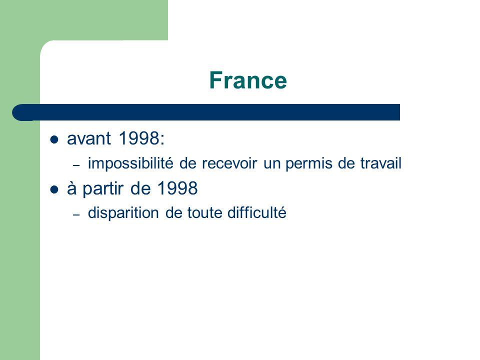 France avant 1998: – impossibilité de recevoir un permis de travail à partir de 1998 – disparition de toute difficulté