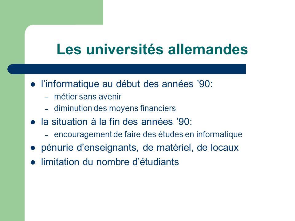Les universités allemandes linformatique au début des années 90: – métier sans avenir – diminution des moyens financiers la situation à la fin des ann