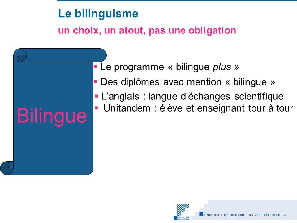Le bilinguisme un choix, un atout, pas une obligation Le programme « bilingue plus » Des diplômes avec mention « bilingue » Bilingue Langlais : langue déchanges scientifique Unitandem : élève et enseignant tour à tour