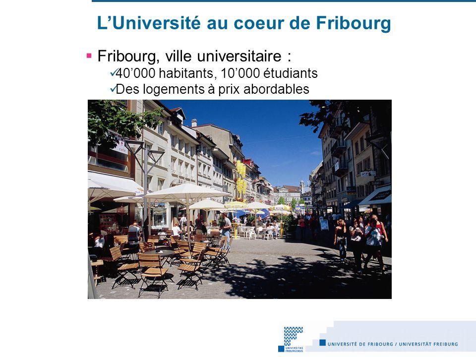 LUniversité au coeur de Fribourg Fribourg, ville universitaire : 40000 habitants, 10000 étudiants Des logements à prix abordables