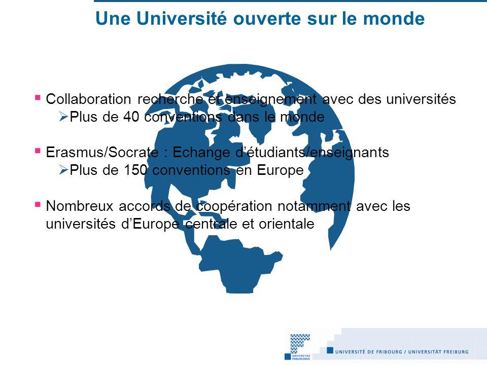 Une Université ouverte sur le monde Collaboration recherche et enseignement avec des universités Plus de 40 conventions dans le monde Erasmus/Socrate : Echange détudiants/enseignants Plus de 150 conventions en Europe Nombreux accords de coopération notamment avec les universités dEurope centrale et orientale