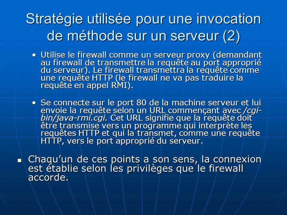 Stratégie utilisée pour une invocation de méthode sur un serveur (2) Utilise le firewall comme un serveur proxy (demandant au firewall de transmettre