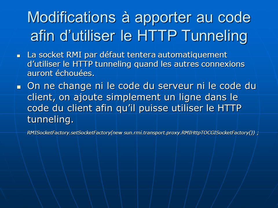 Modifications à apporter au code afin dutiliser le HTTP Tunneling La socket RMI par défaut tentera automatiquement dutiliser le HTTP tunneling quand l