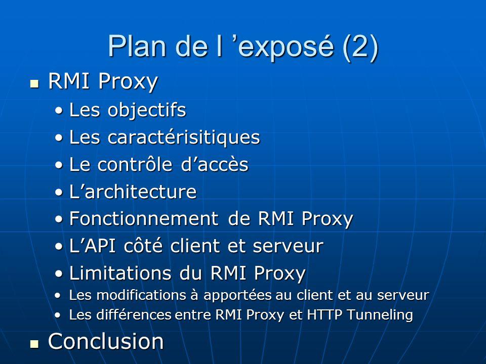 Plan de l exposé (2) RMI Proxy RMI Proxy Les objectifsLes objectifs Les caractérisitiquesLes caractérisitiques Le contrôle daccèsLe contrôle daccès La