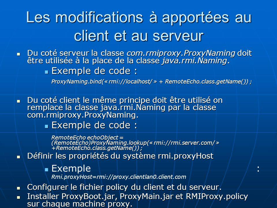 Les modifications à apportées au client et au serveur Du coté serveur la classe com.rmiproxy.ProxyNaming doit être utilisée à la place de la classe ja