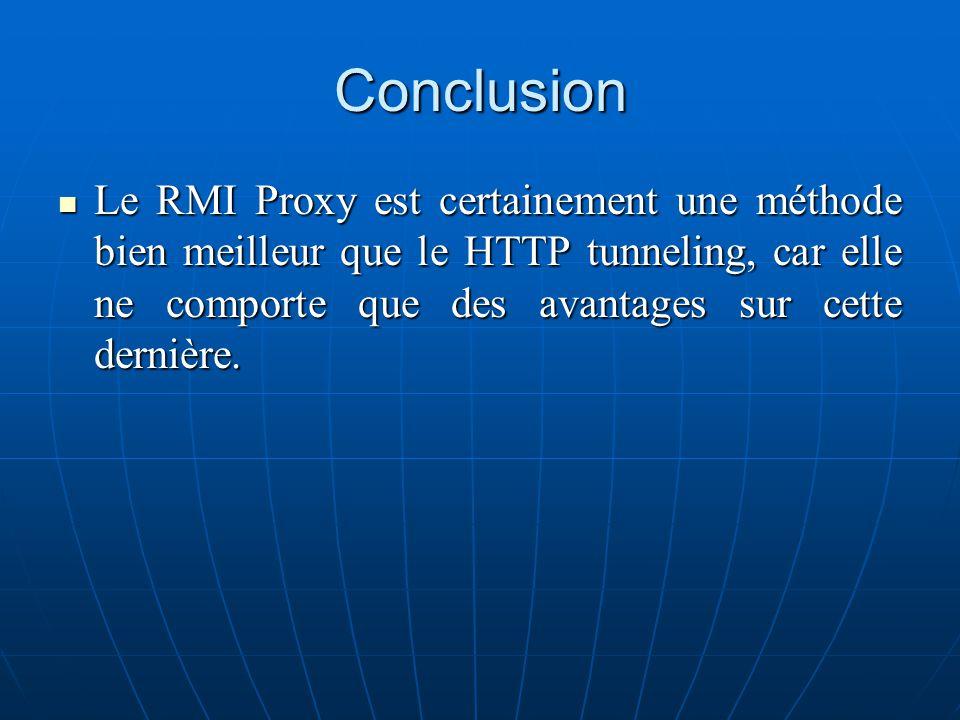 Conclusion Le RMI Proxy est certainement une méthode bien meilleur que le HTTP tunneling, car elle ne comporte que des avantages sur cette dernière. L