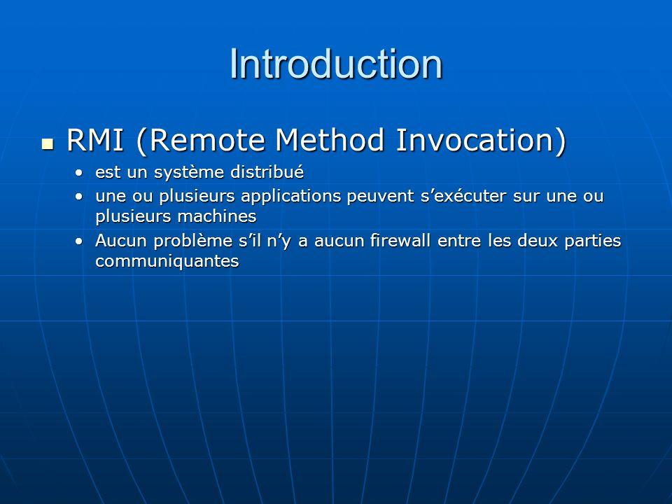 Introduction RMI (Remote Method Invocation) RMI (Remote Method Invocation) est un système distribuéest un système distribué une ou plusieurs applicati