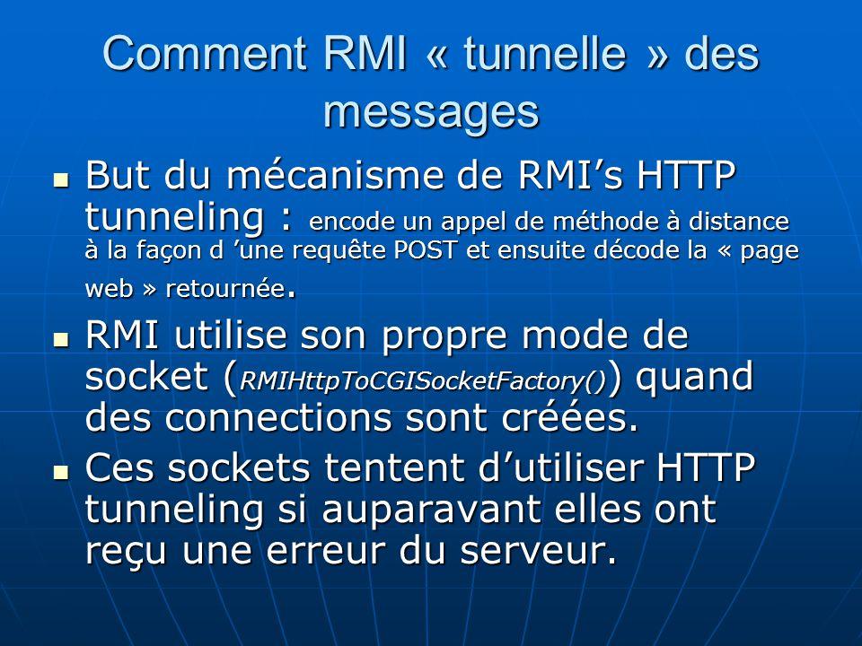 Comment RMI « tunnelle » des messages But du mécanisme de RMIs HTTP tunneling : encode un appel de méthode à distance à la façon d une requête POST et
