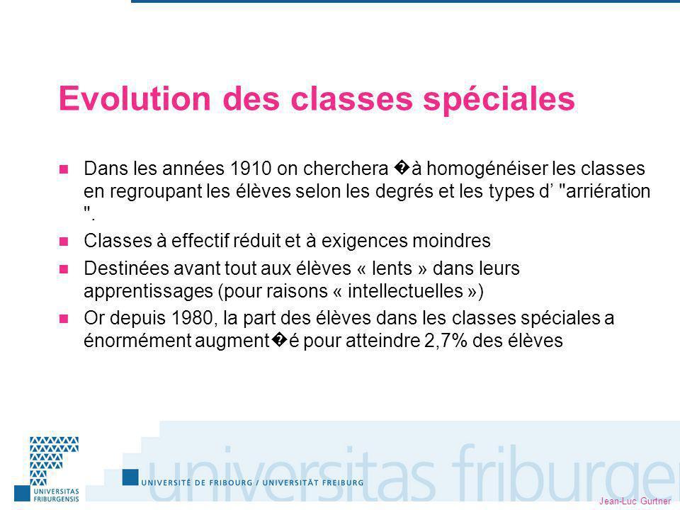 Jean-Luc Gurtner Evolution des classes spéciales Dans les années 1910 on cherchera à homogénéiser les classes en regroupant les élèves selon les degrés et les types d arriération .