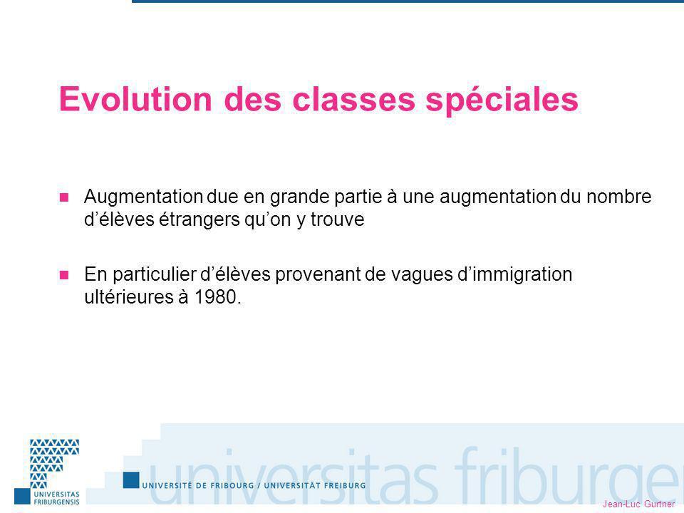 Jean-Luc Gurtner Evolution des classes spéciales Augmentation due en grande partie à une augmentation du nombre délèves étrangers quon y trouve En particulier délèves provenant de vagues dimmigration ultérieures à 1980.