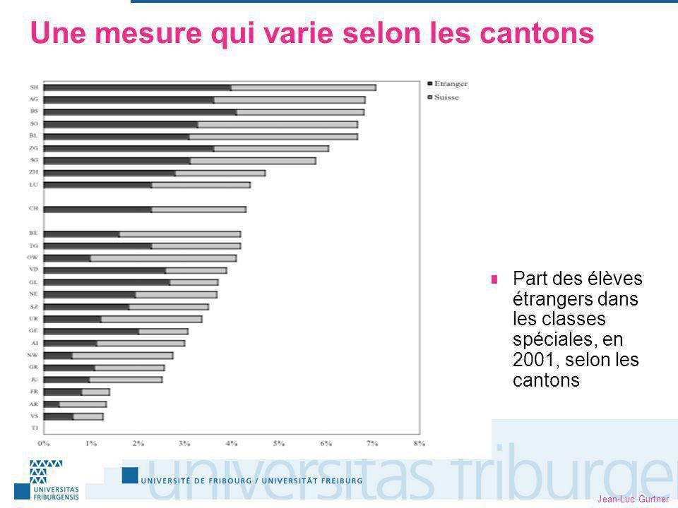 Jean-Luc Gurtner Une mesure qui varie selon les cantons Part des élèves étrangers dans les classes spéciales, en 2001, selon les cantons