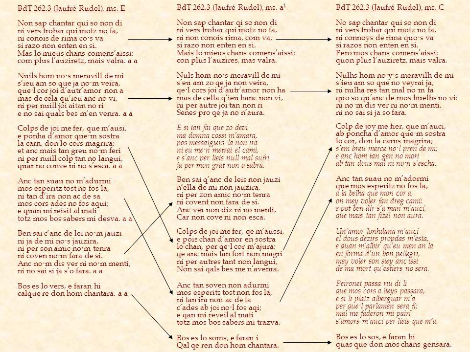 BdT 262.3 (Jaufré Rudel), ms. E Non sap chantar qui so non di ni vers trobar qui motz no fa, ni conois de rima co·s va si razo non enten en si. Mas lo