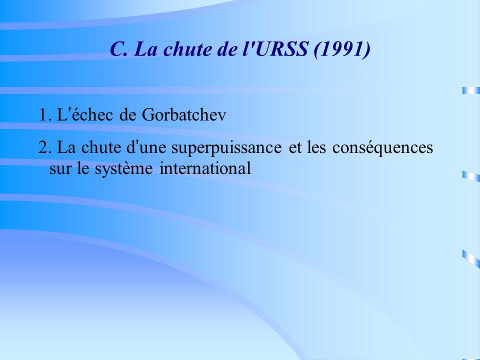 C. La chute de l URSS (1991) 1. Léchec de Gorbatchev 2.