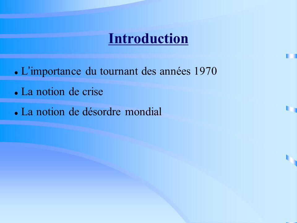 Plan du cours : I.Crise et dérèglementation internationale (1973-1988) II.