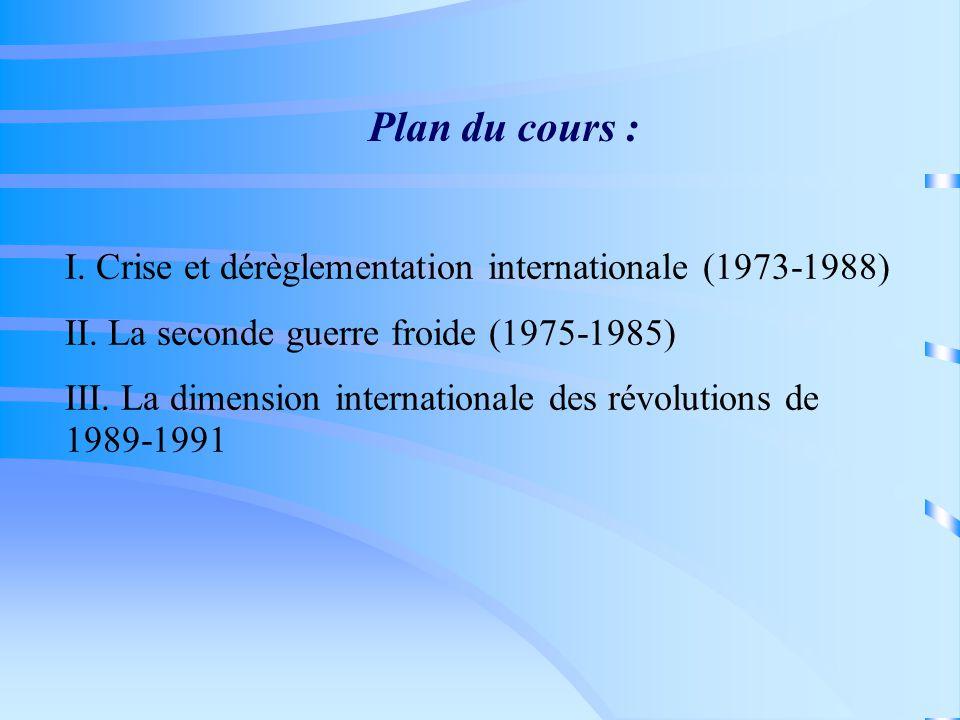 Plan du cours : I. Crise et dérèglementation internationale (1973-1988) II.
