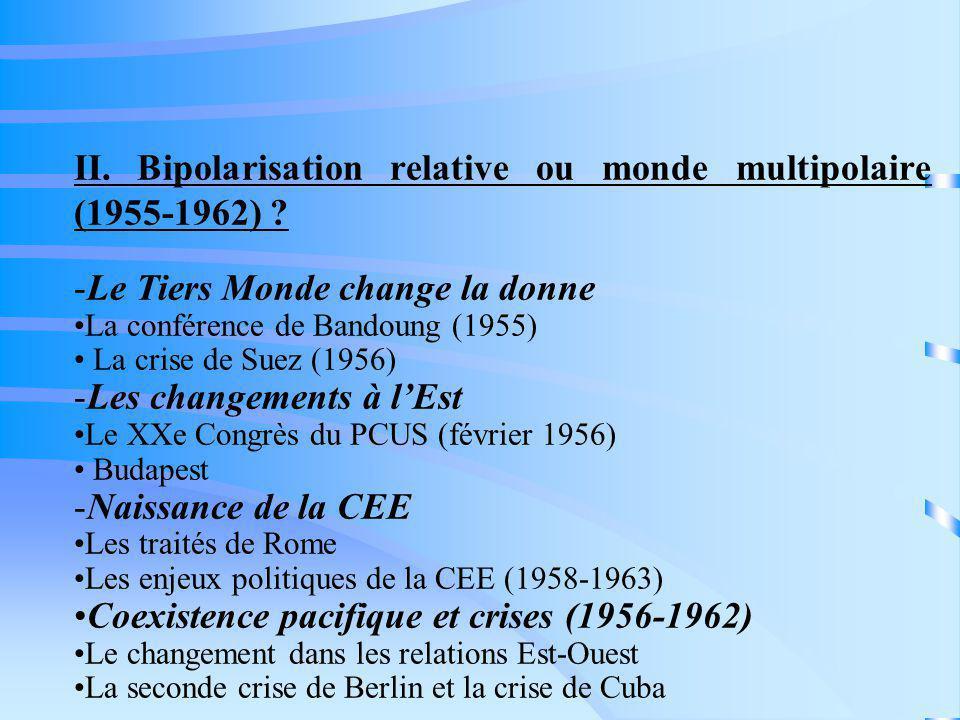 II. Bipolarisation relative ou monde multipolaire (1955-1962) ? -Le Tiers Monde change la donne La conférence de Bandoung (1955) La crise de Suez (195