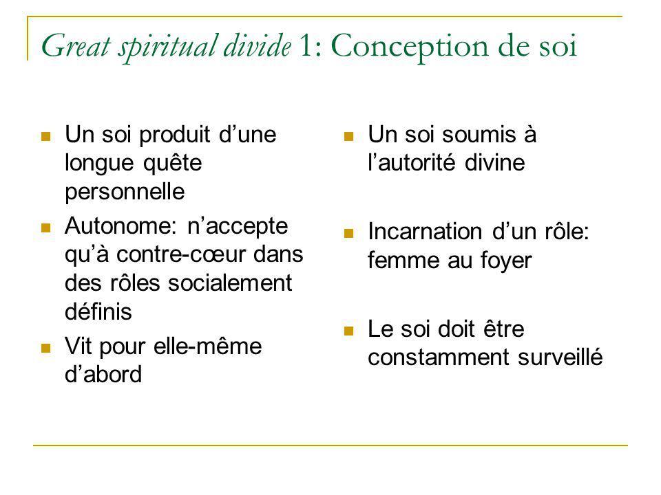 Great spiritual divide 1: Conception de soi Un soi produit dune longue quête personnelle Autonome: naccepte quà contre-cœur dans des rôles socialement