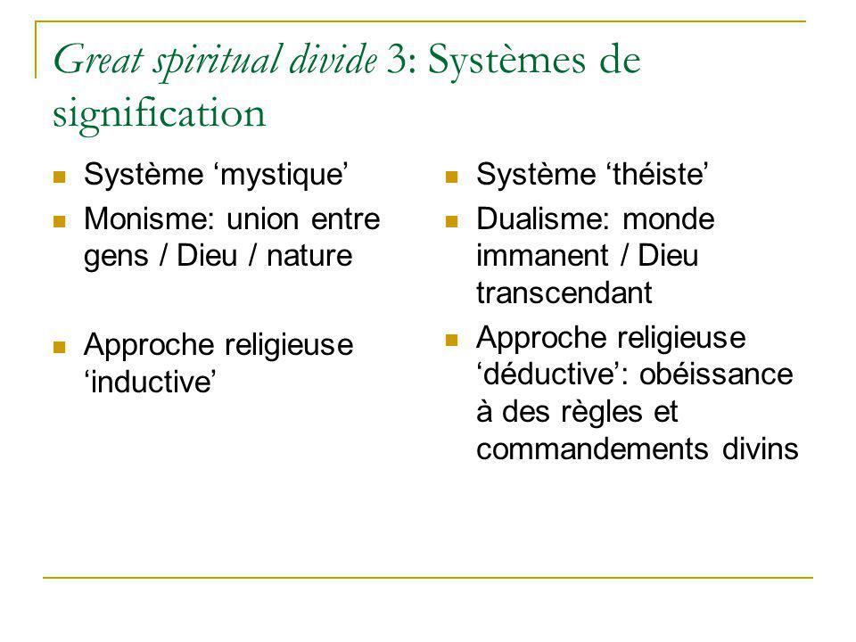 Great spiritual divide 3: Systèmes de signification Système mystique Monisme: union entre gens / Dieu / nature Approche religieuse inductive Système t