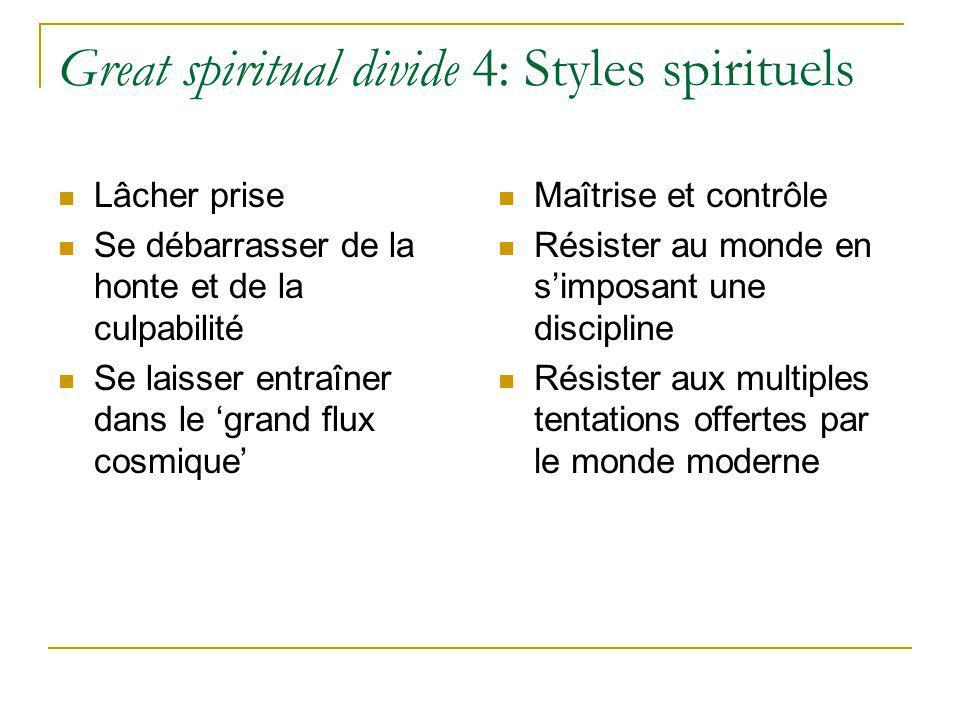 Great spiritual divide 4: Styles spirituels Lâcher prise Se débarrasser de la honte et de la culpabilité Se laisser entraîner dans le grand flux cosmi