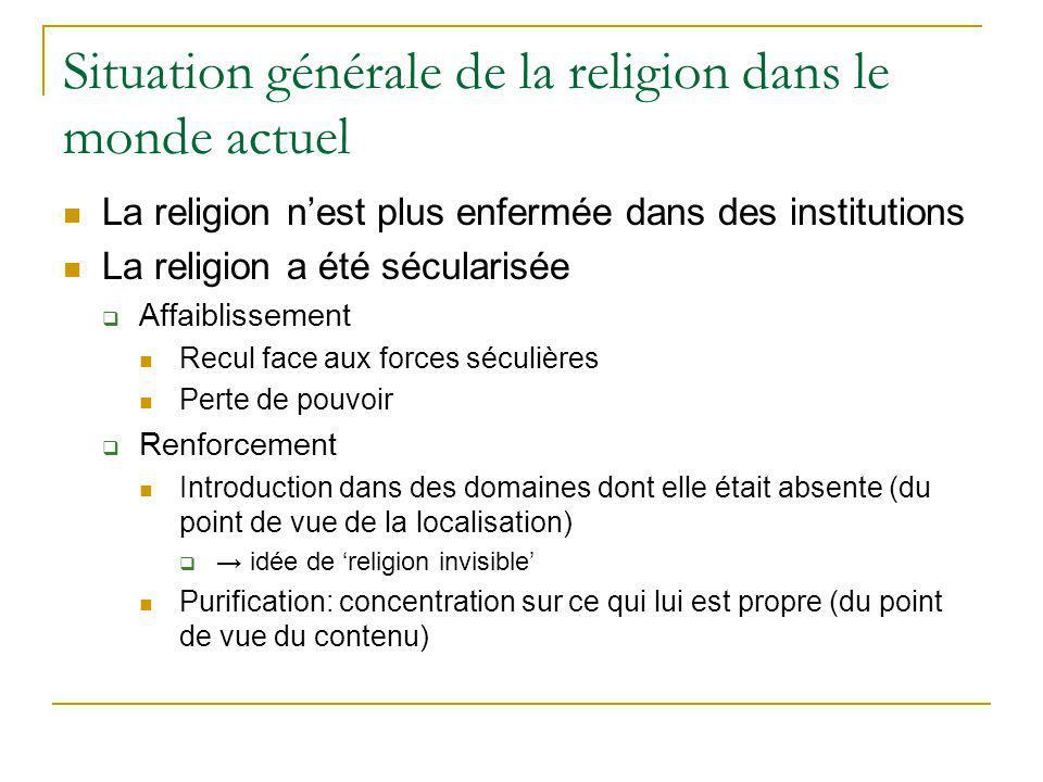 Situation générale de la religion dans le monde actuel La religion nest plus enfermée dans des institutions La religion a été sécularisée Affaiblissem